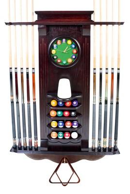 Cue Rack Only- 10 Pool - Billiard Stick & Balll Wall Stand W/ Clock Mahogany Finish