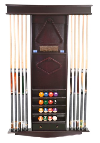 Cue Rack Only- Deluxe 10 Pool - Billiard Stick & Ball Wall Stand Mahogany Finish
