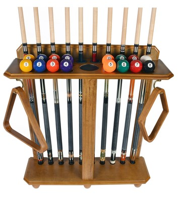 Cue Rack Only- 10 Pool - Billiard Stick & Ball Set Floor - Stand Oak Finish